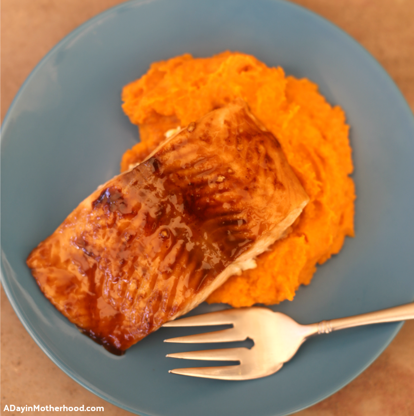 Glazed Brown Sugar Salmon & Mashed Sweet Potatoes & Carrots Recipe