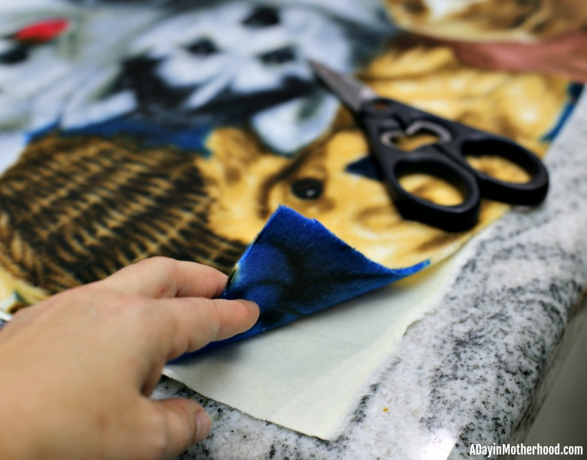 Easy DIY Tie Blanket (No Sew) - start with two layers
