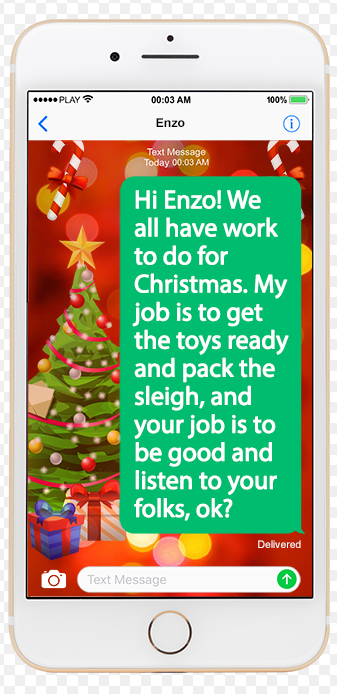 Keep Your Kids off the Naughty List with Texts from Santa.com for kids