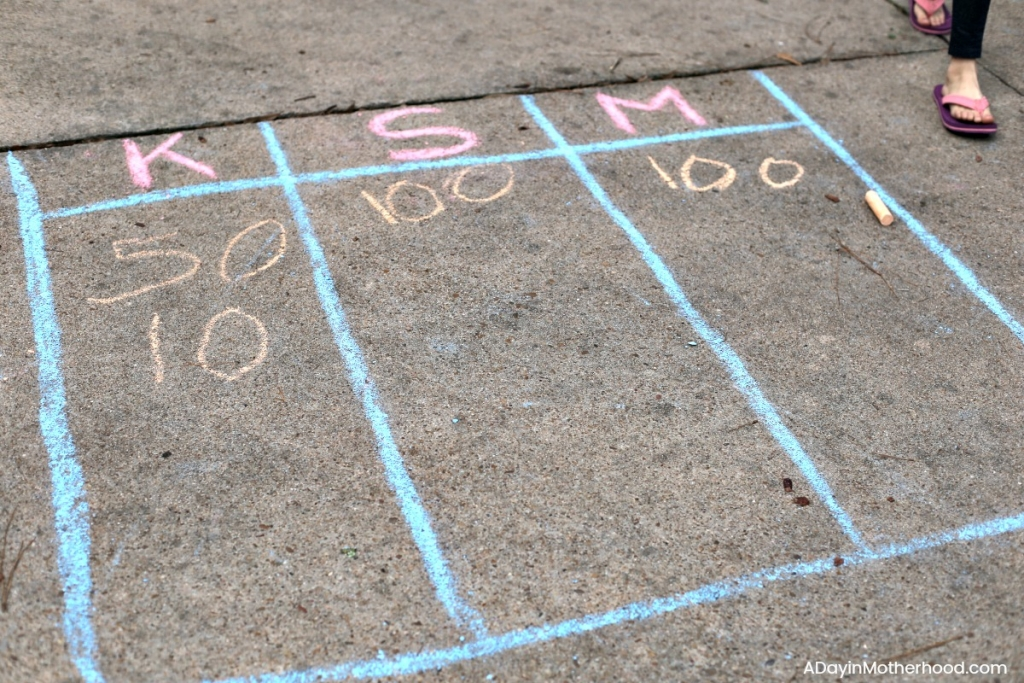 DIY Basketball Bucket Game with chalk too