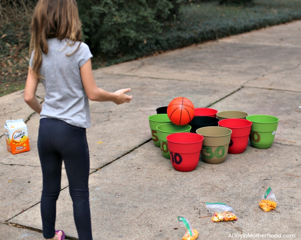 DIY Basketball Bucket Game throw