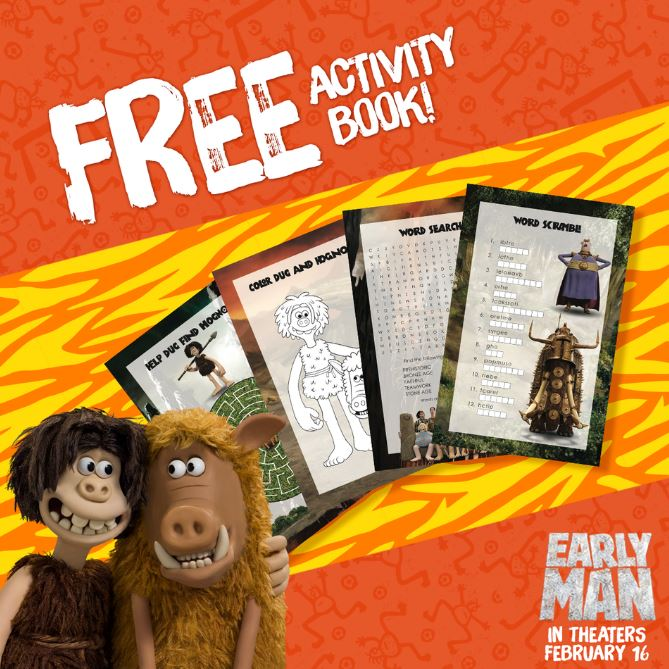 WIN an Early Man Prize Pack with Gift Card & FREE Activity Book like this one