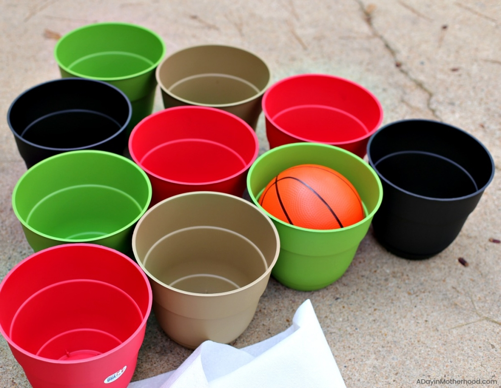 DIY Basketball Bucket Game starting with planters