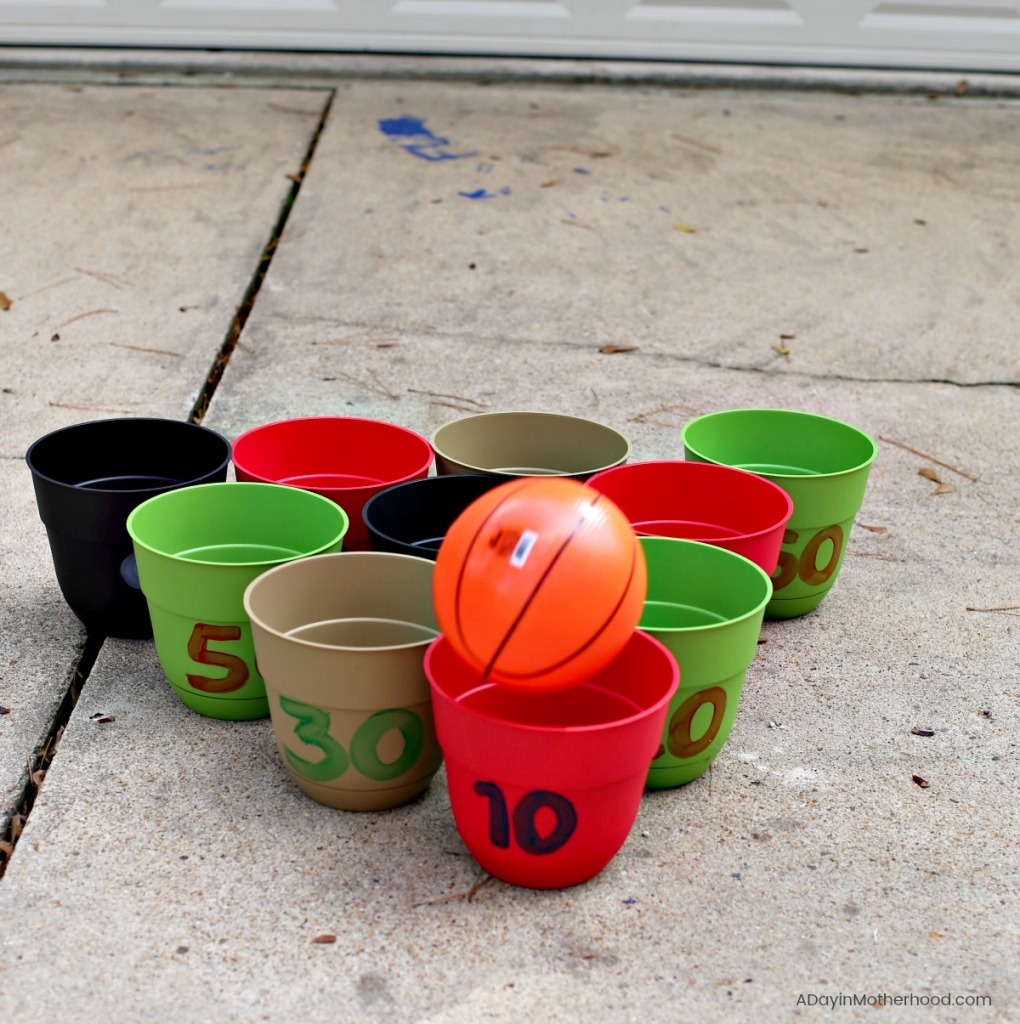 DIY Basketball Bucket Game with a fun point systerm