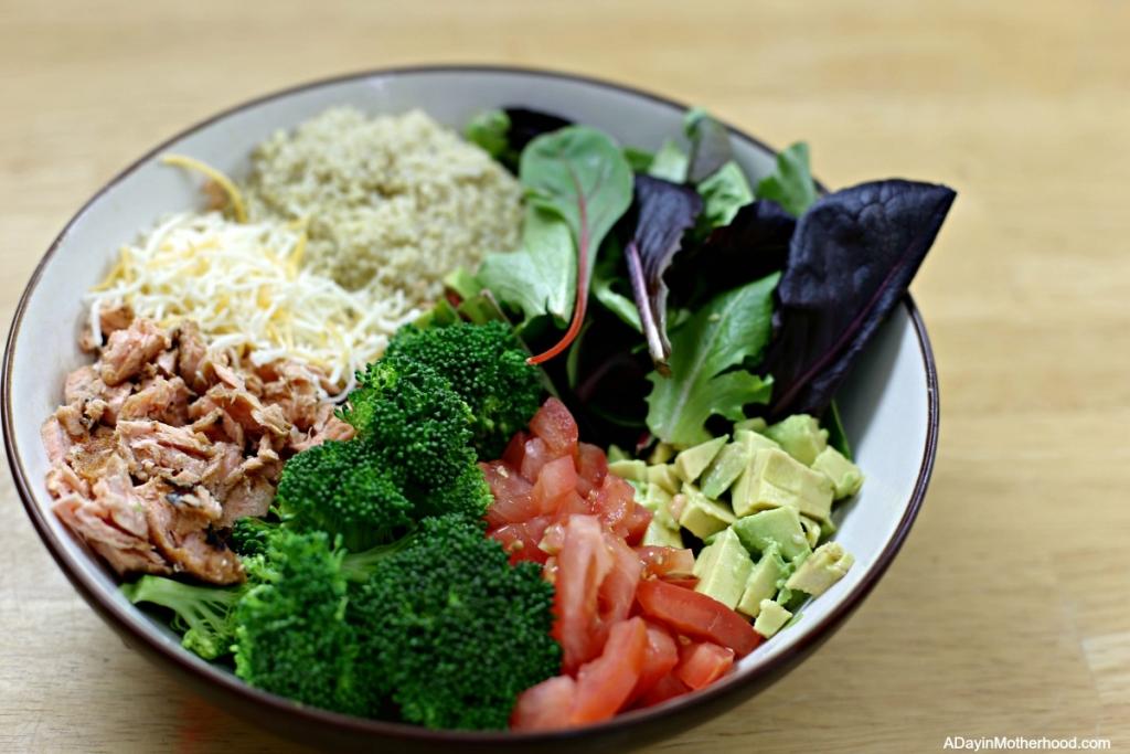 Chipotle Salmon Quinoa Burrito Bowl and serve it up