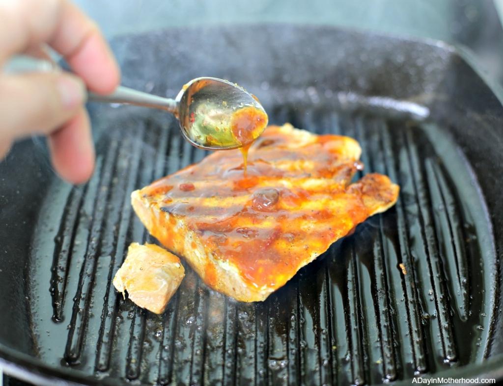 Chipotle Salmon Quinoa Burrito Bowl with salmon that has flavor