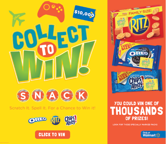 Play Collect to WIN AND Enter the Sweepstakes too: From OREO, RITZ and Chips Ahoy! & win big