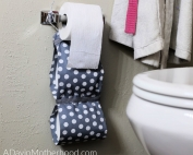 DIY No Sew Toilet Paper Holder hanging
