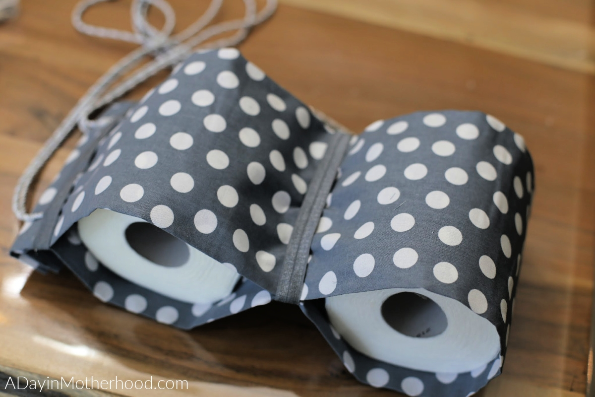 DIY No Sew Toilet Paper Holder add ribbon