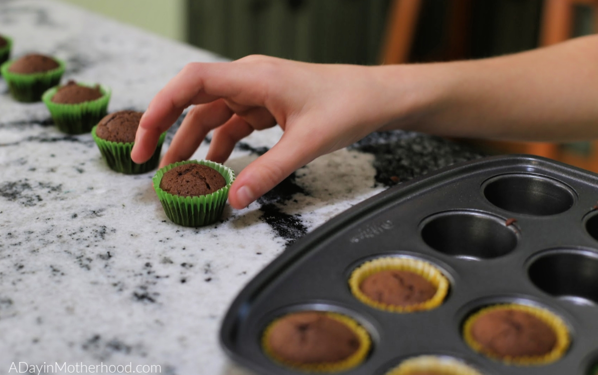 Goosebumps 2 Movie Night: Mini Ghost Cupcakes - chocolate ones