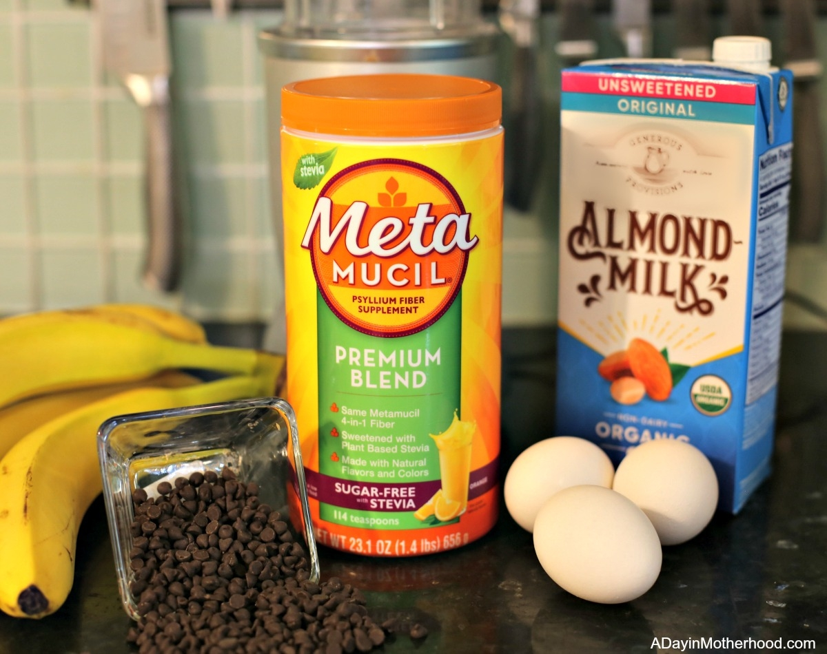 Chocolate Chip Banana Protein Shake with Extra Fiber from Metamucil