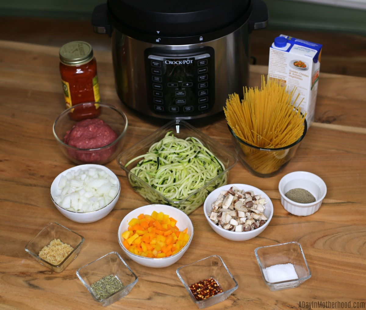 Instant Pot Spaghetti ingredients