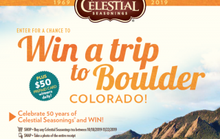 Win a trip to boulder Colorado from Celestial Seasonings Tea banner. Click to win