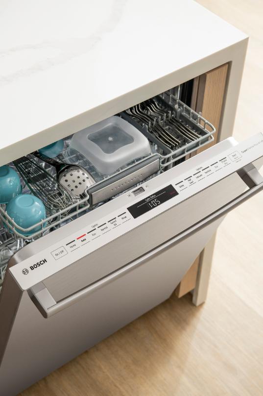 Bosch 800 Series Dishwasher Features = photo of top rack of Bosch dishwasher on adayinmotherhood.com