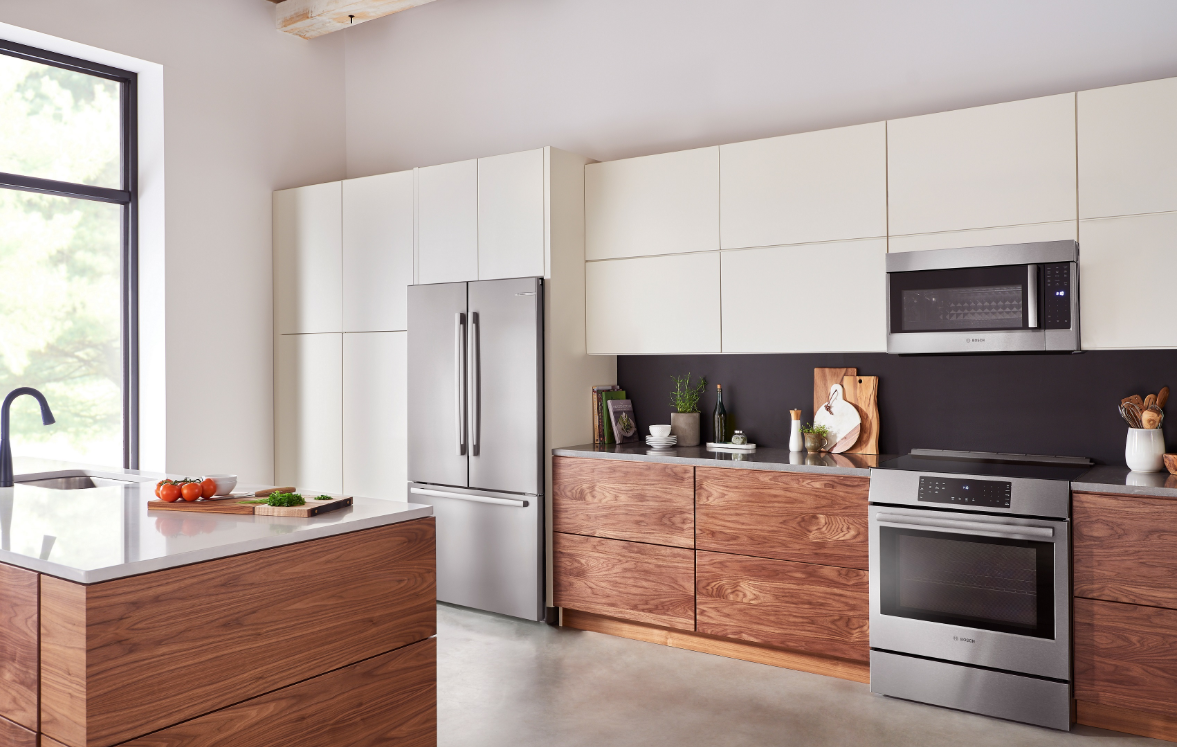 All-New Bosch Counter-Depth Refrigerators - angle of fridge in kitchen on adayinmotherhood
