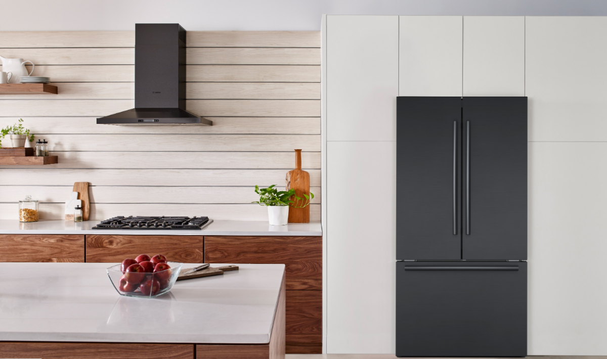 All-New Bosch Counter-Depth Refrigerators - black fridge image installed on adayinmotherhood