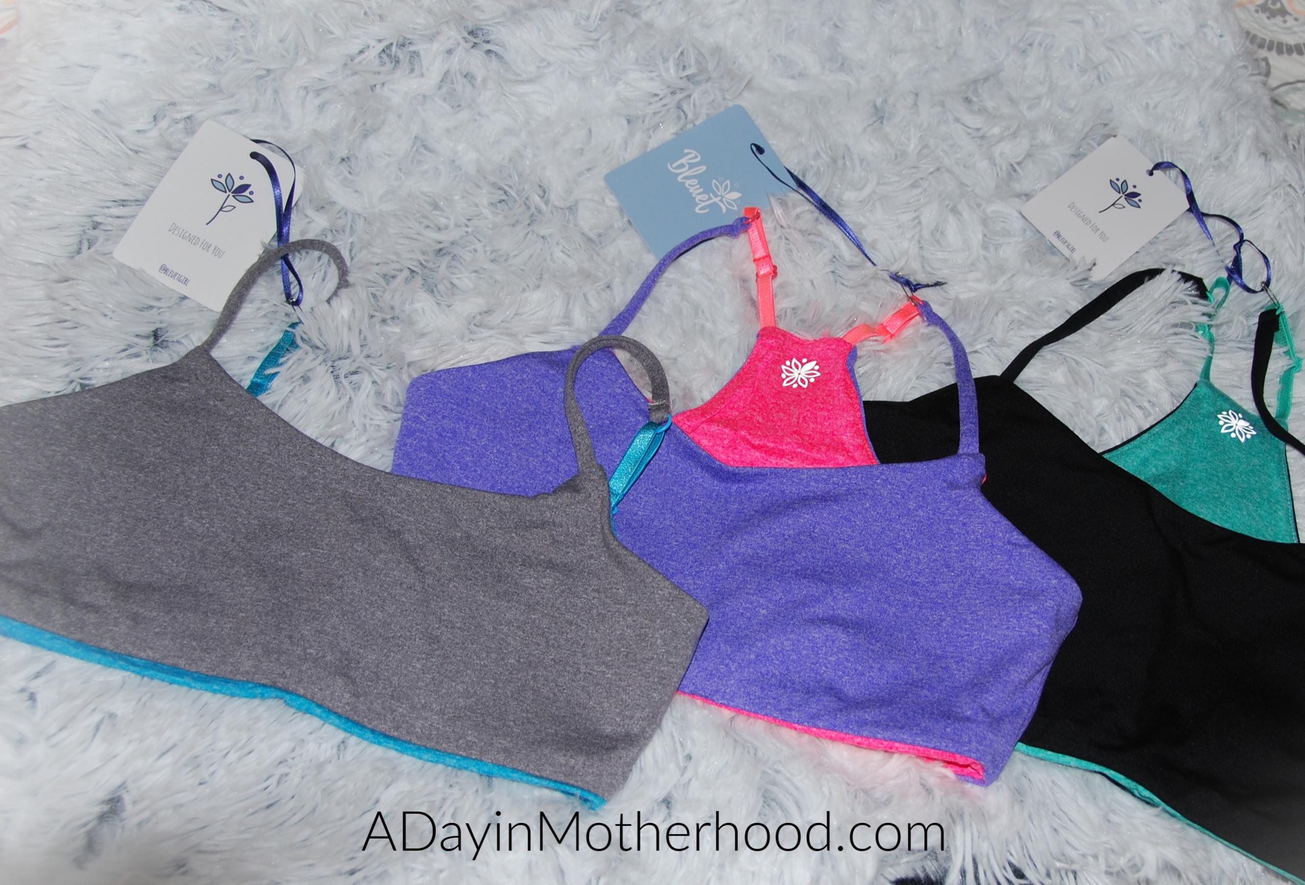 Bleuet-A Better Bra for Tweens and Teens-photo of 3 colorful bras on ADayinMotherhood.com