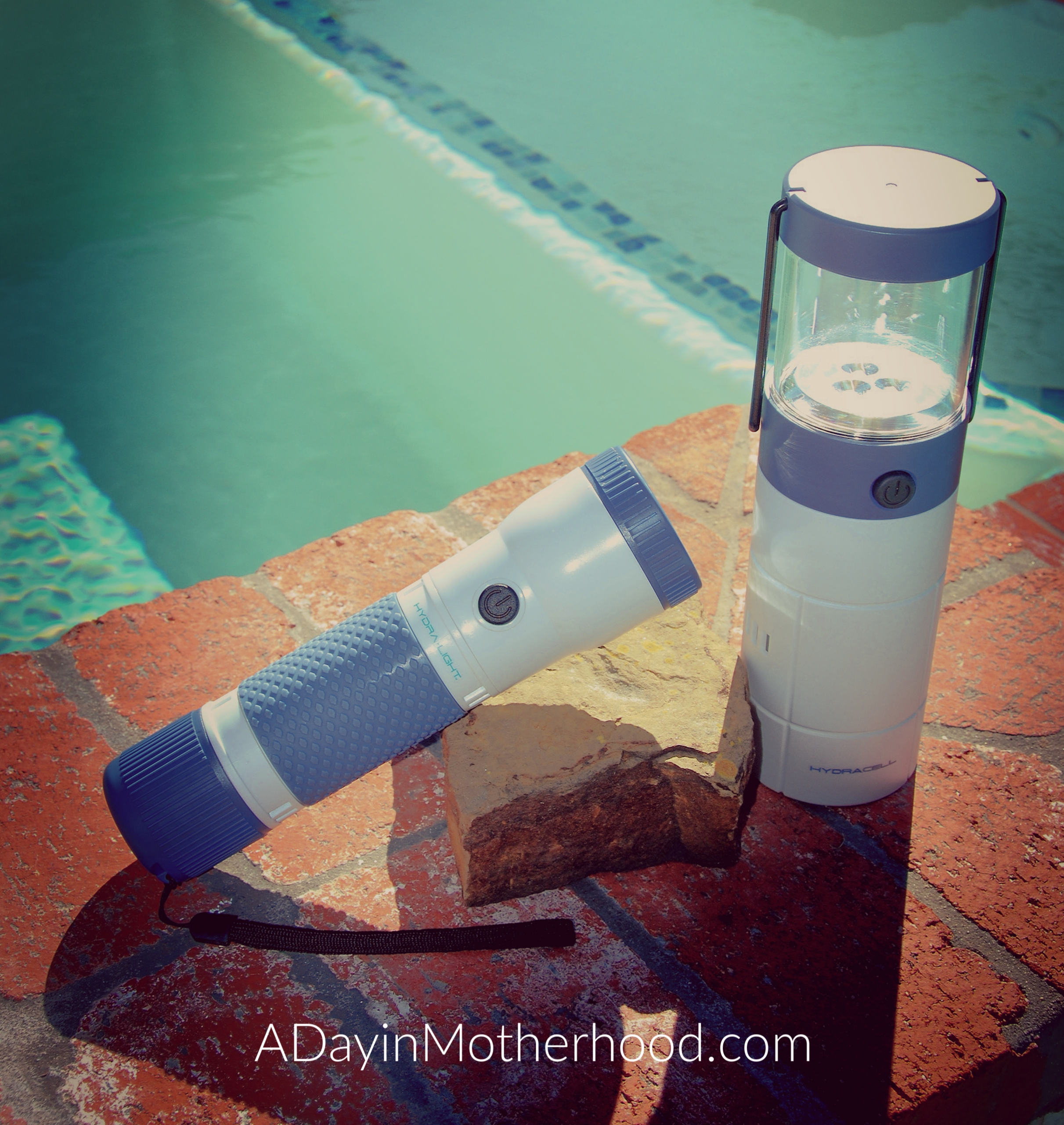 Hydracell power when you need it-Flashlight next to pool on www.adayinmotherhood.com