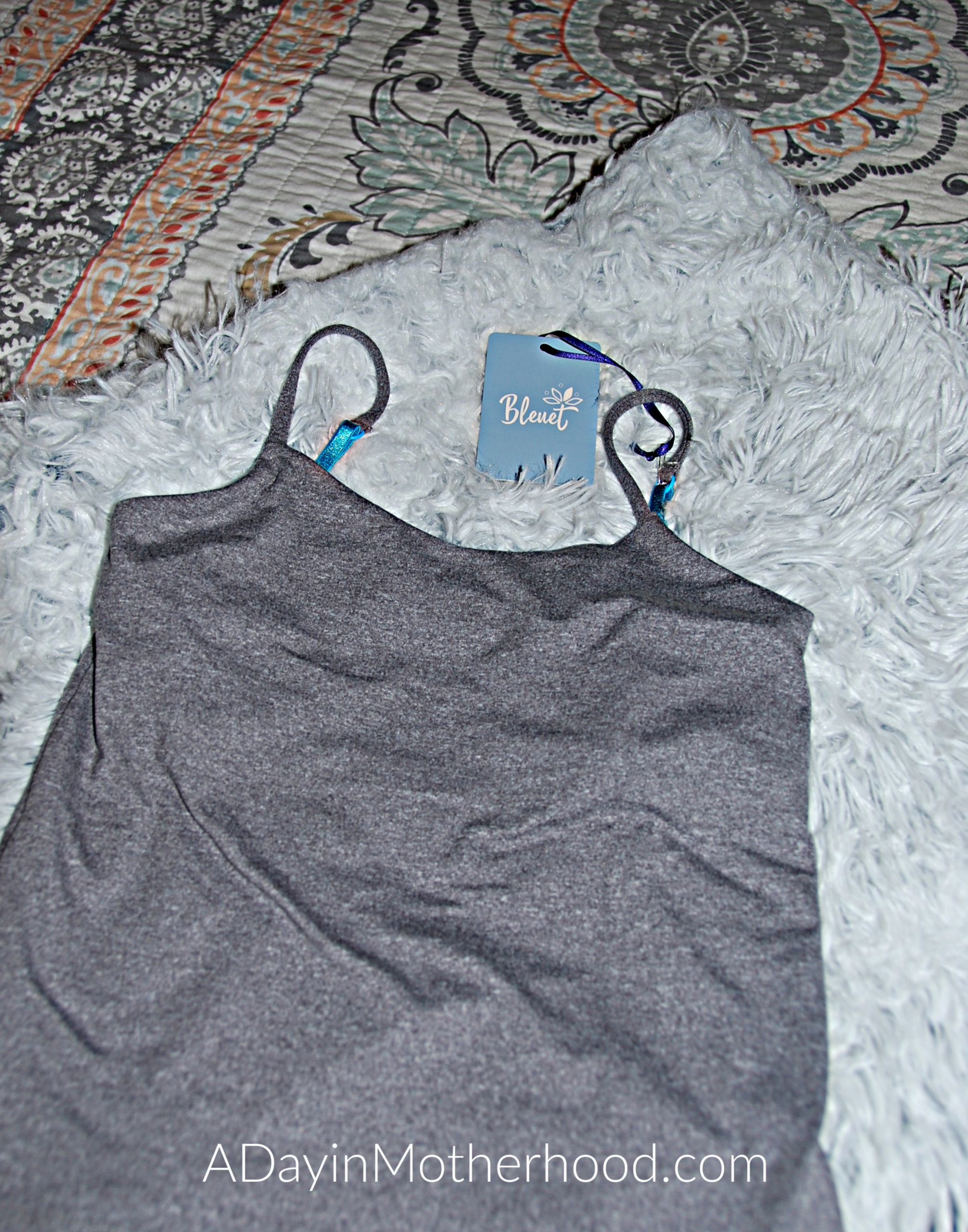 Bleuet-A Better Bra for Tweens and Teens-photo of a grey cami on ADayinMotherhood.com