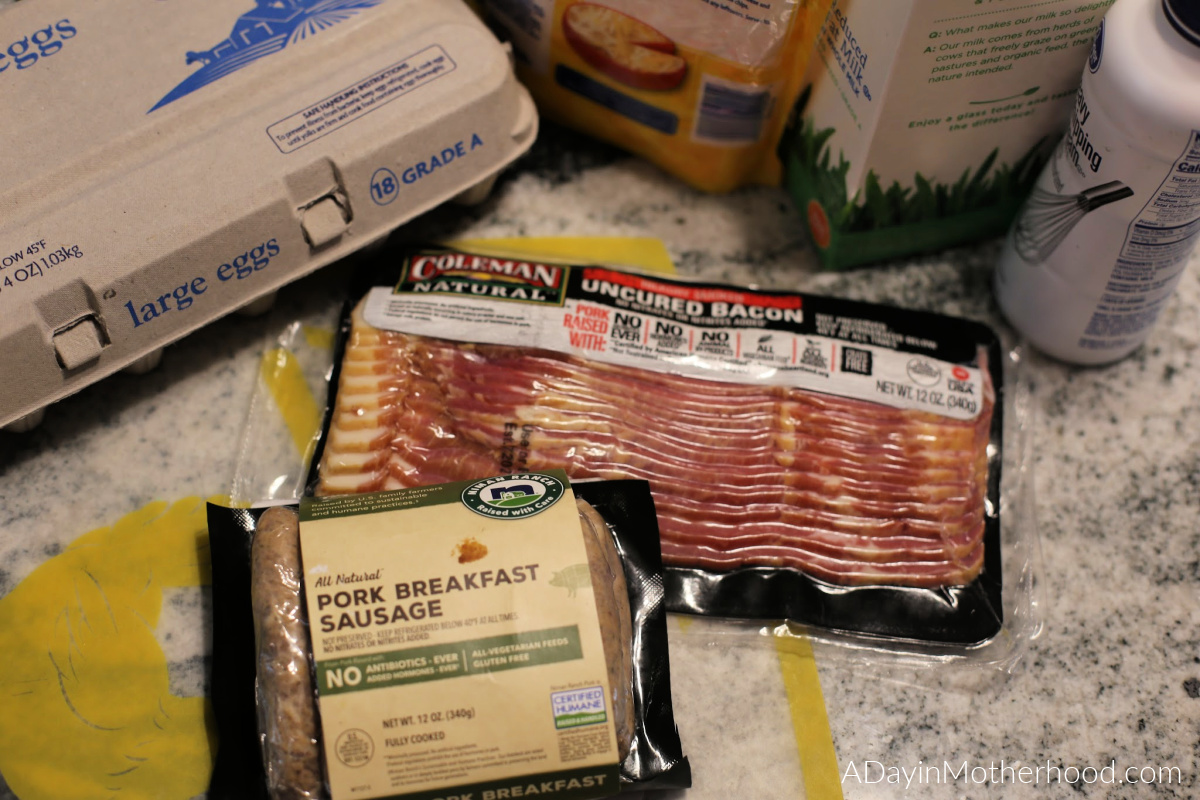 Easy Bacon & Sausage Frittata Recipe - photo of bacon and breakfast sausage on adayinmotherhood.com