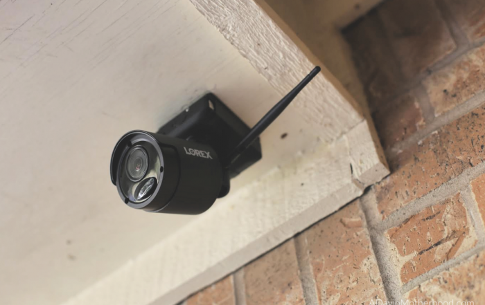 Lorex Security Cameras Up Your Confidence this Holiday Season - pic of the lorex camera atached to an outdoor space on adayinmotherhood.com