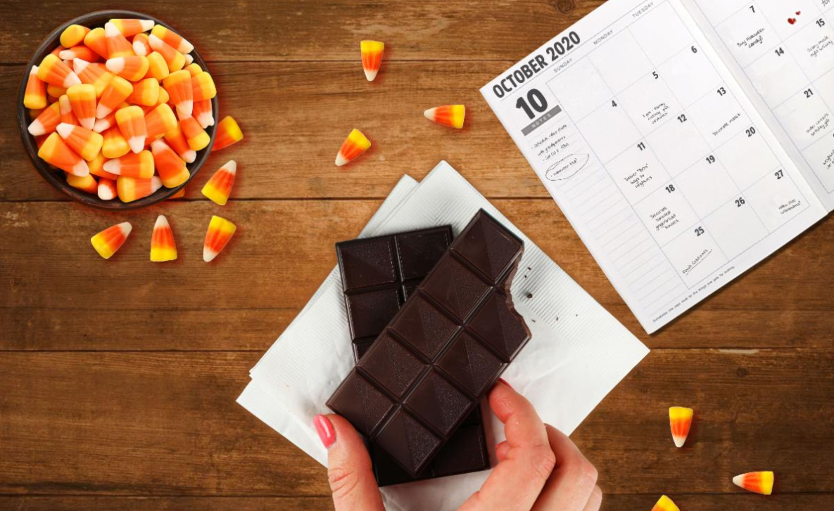 Get Ready – Halloween Is Happening! Candy and a calendar picture